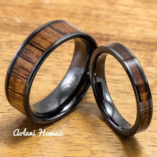 Wedding Band Set of Ceramic Rings with Hawaiian Koa Wood Inlay (4mm & 8mm width, Flat Style ) - Aolani Hawaii - 1