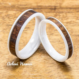 Wedding Band Set of Ceramic Rings with Hawaiian Koa Wood Inlay (4mm & 6mm width, Flat Style ) - Aolani Hawaii - 1