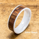 Wedding Band Set of Ceramic Rings with Hawaiian Koa Wood Inlay (6mm & 8mm width, Flat Style ) - Aolani Hawaii - 2