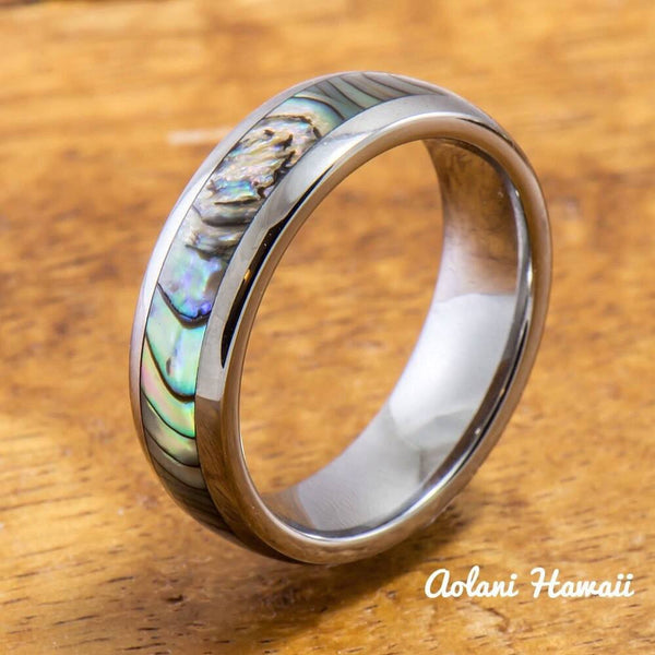 Tungsten Wedding Band Set with Mother of Pearl Abalone Inlay (4mm - 6mm Width) - Aolani Hawaii - 2