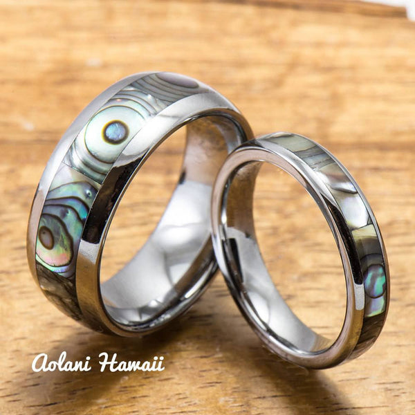 Tungsten Wedding Band Set with Mother of Pearl Abalone Inlay (4mm - 8mm Width) - Aolani Hawaii - 1