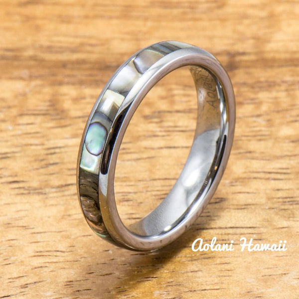 Tungsten Wedding Band Set with Mother of Pearl Abalone Inlay (4mm - 6mm Width) - Aolani Hawaii - 3