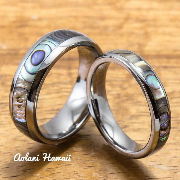 Tungsten Wedding Band Set with Mother of Pearl Abalone Inlay (4mm - 6mm Width) - Aolani Hawaii - 1