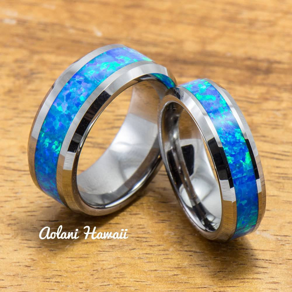 Wedding Band Set of Tungsten Rings with Opal Inlay (6mm & 8mm width, Flat Style) - Aolani Hawaii - 1
