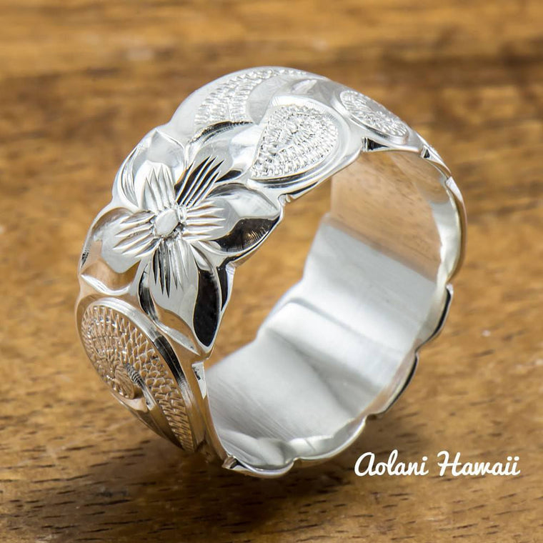 Hawaiian Silver Ring - Hand Engraved Sterling Silver Barrel Ring (4mm - 12mm width, Barrel style)