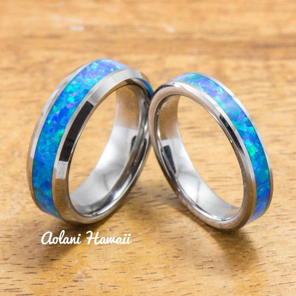 Wedding Band Set of Tungsten Rings with Opal Inlay (6mm & 4mm width, Flat Style) - Aolani Hawaii - 1