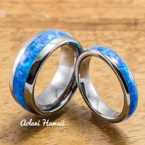 Wedding Band Set of Tungsten Rings with Opal Inlay (8mm & 4mm width, Barrel Style) - Aolani Hawaii - 1
