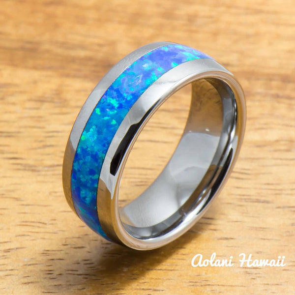 Wedding Band Set of Tungsten Rings with Opal Inlay (6mm & 8mm width, Barrel Style) - Aolani Hawaii - 2