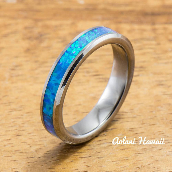 Wedding Band Set of Tungsten Rings with Opal Inlay (8mm & 4mm width, Flat Style) - Aolani Hawaii - 3