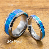 Wedding Band Set of Tungsten Rings with Opal Inlay (8mm & 4mm width, Flat Style) - Aolani Hawaii - 1