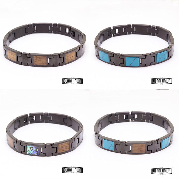 Ion Plated Black Stainless Steel Bracelet with Abalone Inlay