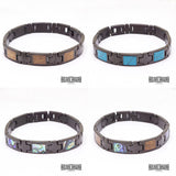 Koa Wood Turquoise Ion Plated Black Stainless Steel Bracelet