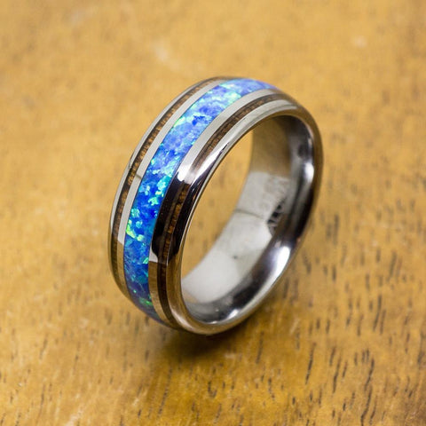 Tungsten Opal Ring With Koa Wood Inlay (8mm Width, Barrel style)
