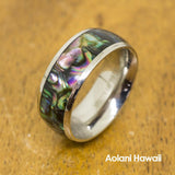 Abalone Stainless Steel Ring (8mm width, Barrel Style)