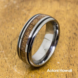 Tungsten Koa Wood with Black Stripe Inlay (8mm Width, Barrel style)