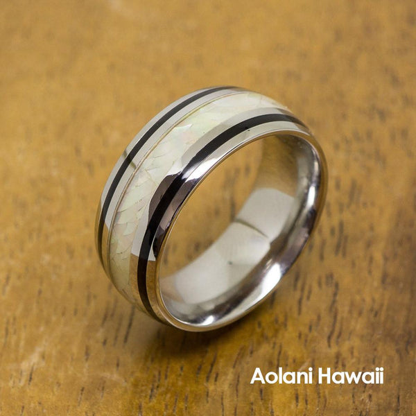 White Opal Stainless Steel Ring (8mm width, Barrel Style)