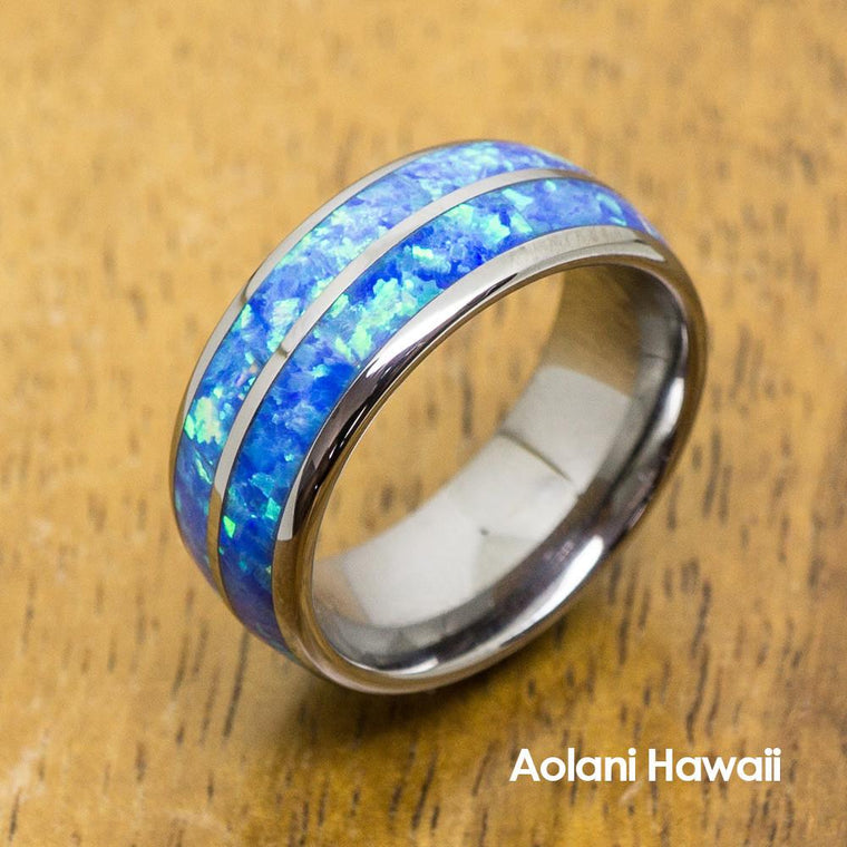 Opal Inlay Tungsten Ring (6mm - 8mm Width, Barrel style)