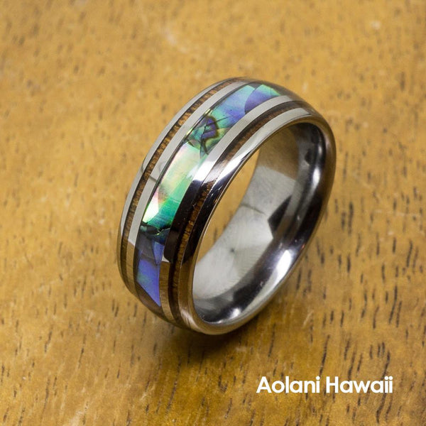 Abalone Tungsten Ring With Koa Wood Inlay (8mm Width, Barrel style)