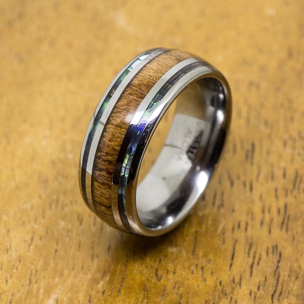 Tungsten Abalone Ring With Koa Wood Inlay (8mm Width, Barrel style)