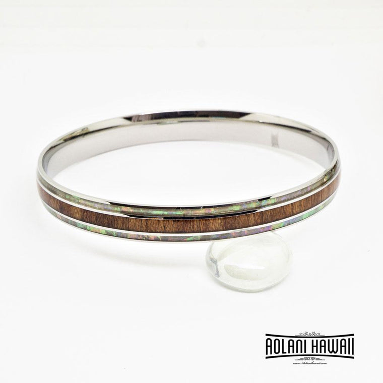 Mother of Pearl Koa Wood Bracelet in Stainless Steel (8mm - 10mm width)