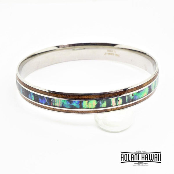 Koa Wood Abalone Bracelet handmade with Stainless Steel (8mm - 10mm width)