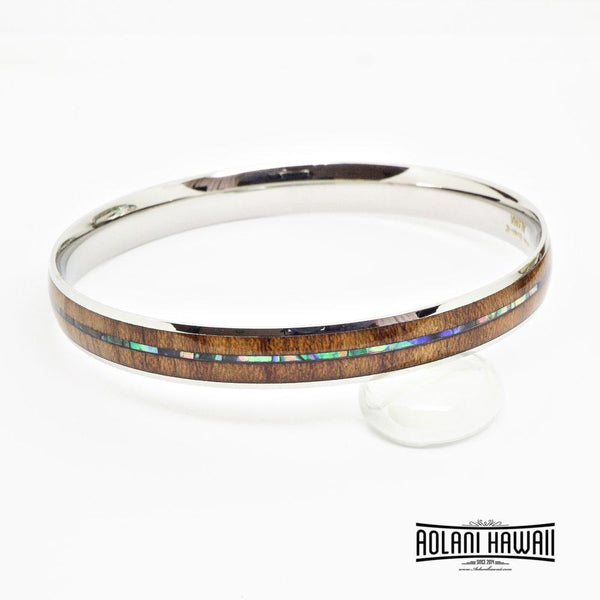 Abalone Koa Wood Bracelet in Stainless Steel (6mm - 12mm width)