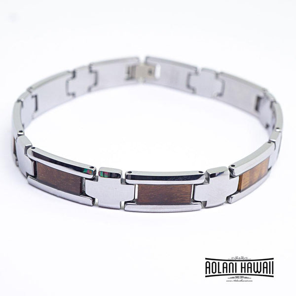 "Koa Wood Bracelet handmade with Tungsten Carbide (10mm width, 9"" inch in length)"