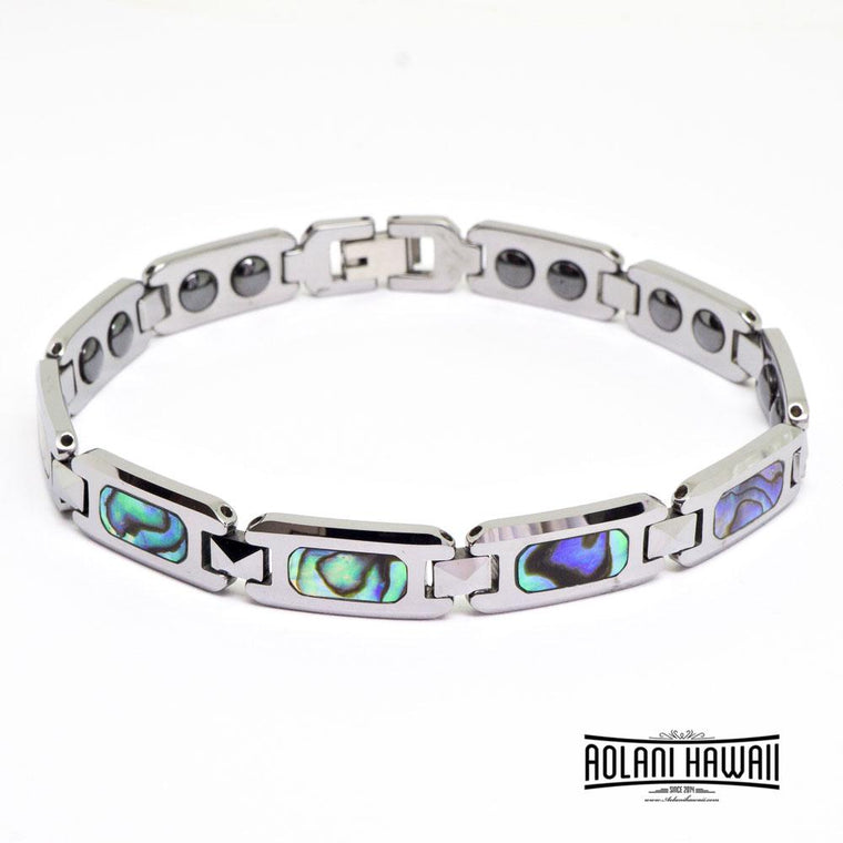 Tungsten Link Bracelet with Abalone Mother of Pearl Abalone Shell Inlay (10mm width, 9