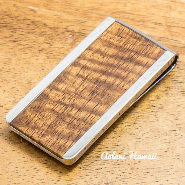 Koa Wood Stainless Steel Money Clip - Aolani Hawaii - 1