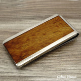 Koa Wood Stainless Steel Money Clip - Aolani Hawaii - 3