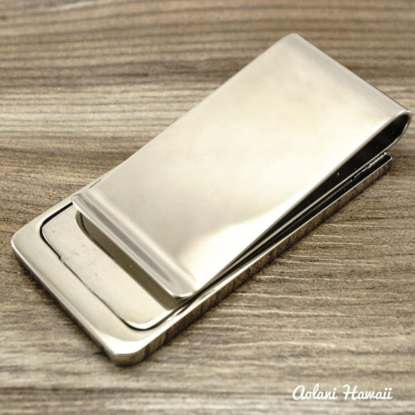 Koa Wood Stainless Steel Money Clip - Aolani Hawaii - 4