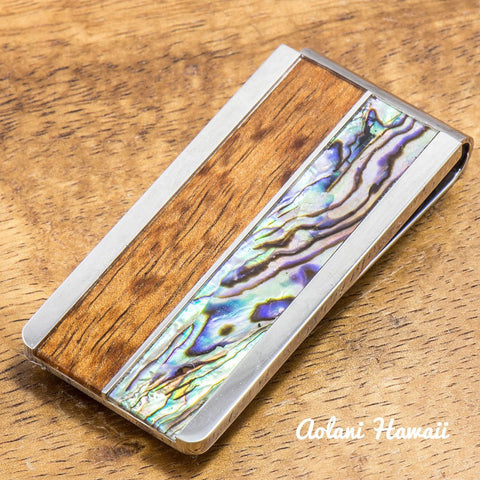 Stainless Steel Koa Wood Money Clip With Koa Wood and Abalone Inlay