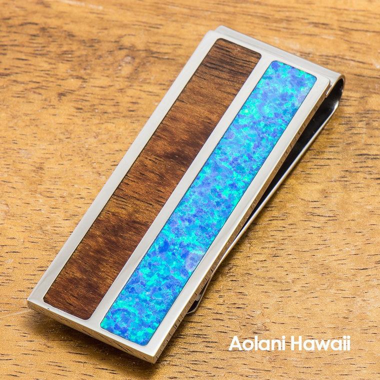 Stainless Steel Money Clip With Koa Wood and Opal Inlay