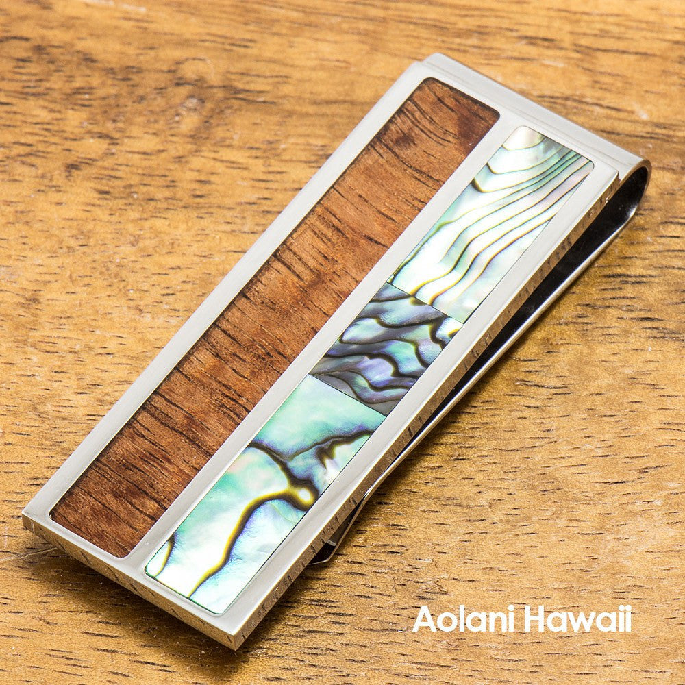 Stainless Steel Money Clip With Koa Wood and Abalone Inlay - Aolani Hawaii - 1