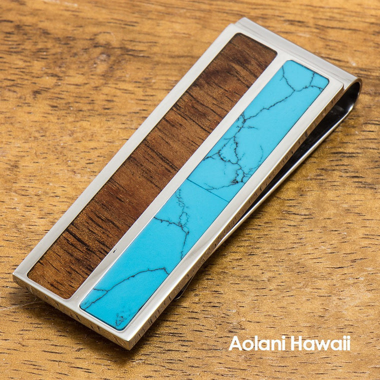 Stainless Steel Money Clip With Koa Wood and Turquoise Inlay