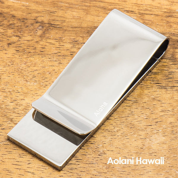 Stainless Steel Money Clip With Koa Wood and Opal Inlay - Aolani Hawaii - 2