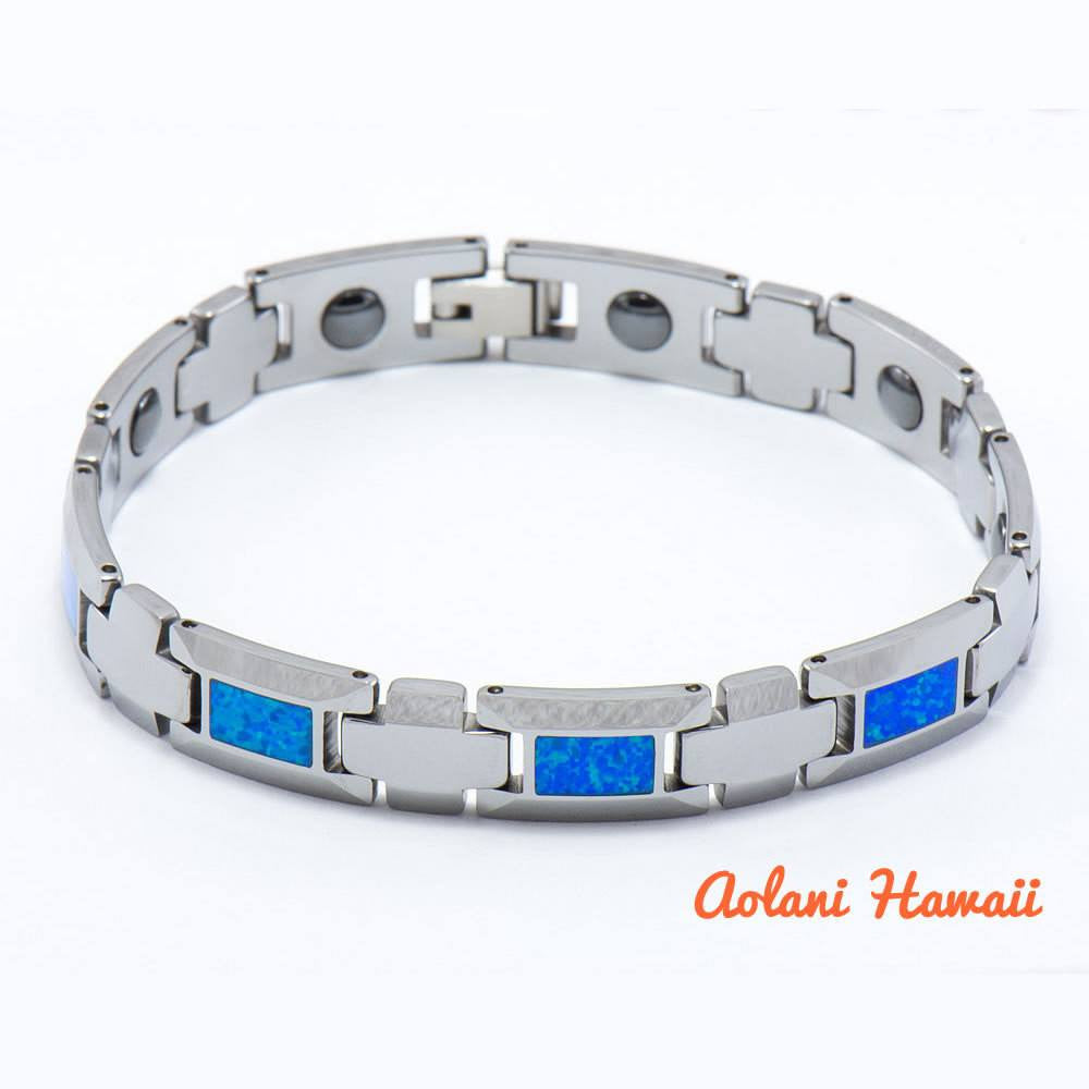 "Opal Bracelet handmade with Tungsten Carbide (10mm width, 8"" inch in length) - Aolani Hawaii - 1"