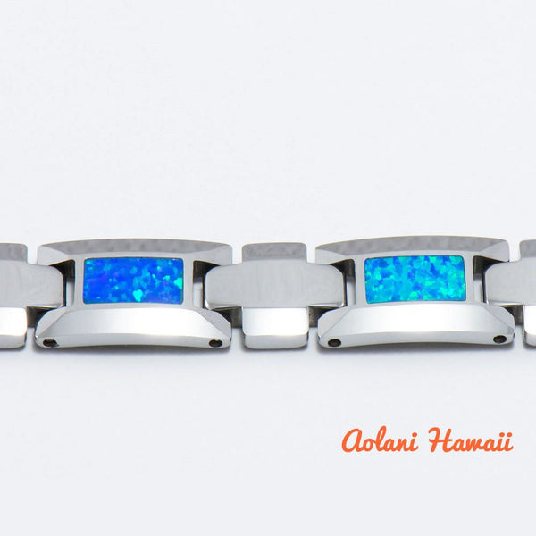 "Opal Bracelet handmade with Tungsten Carbide (10mm width, 8"" inch in length) - Aolani Hawaii - 2"