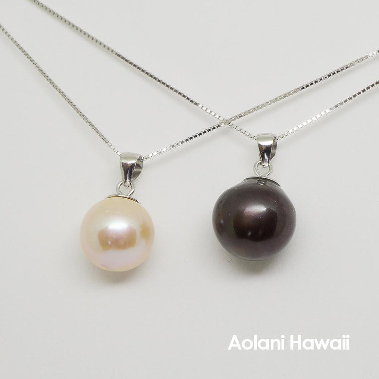 Pearl Necklace Pendant with Sterling Silver Chain
