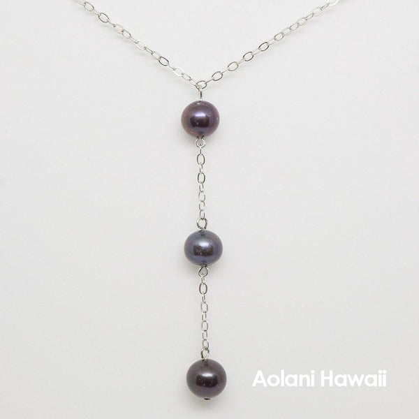 Triple Pearl Necklace Pendant with Sterling Silver Chain