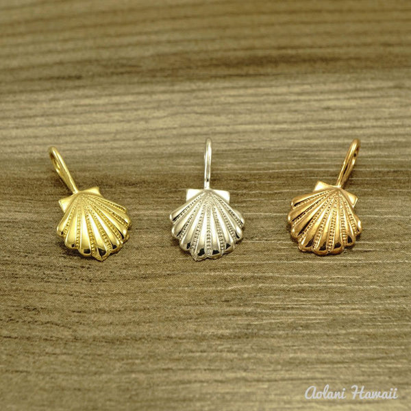 14k Gold seashell Pendant with Singapore Chain - Aolani Hawaii - 3