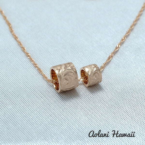 14k Pink Gold Barrel Pendant with Twist Chain - Aolani Hawaii - 1