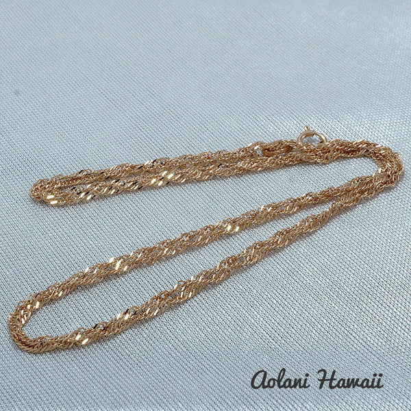 14k Pink Gold Barrel Pendant with Twist Chain - Aolani Hawaii - 3