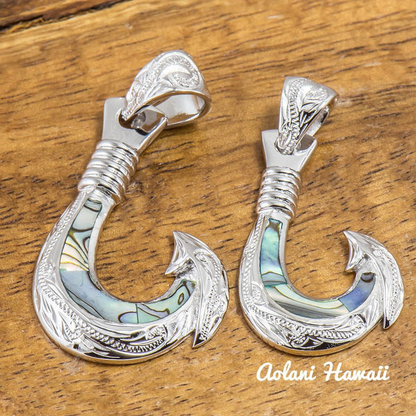 Abalone Inlaid Fishhook Pendant with 925 Sterling Silver (FREE Stainless Chain Included) - Aolani Hawaii - 1
