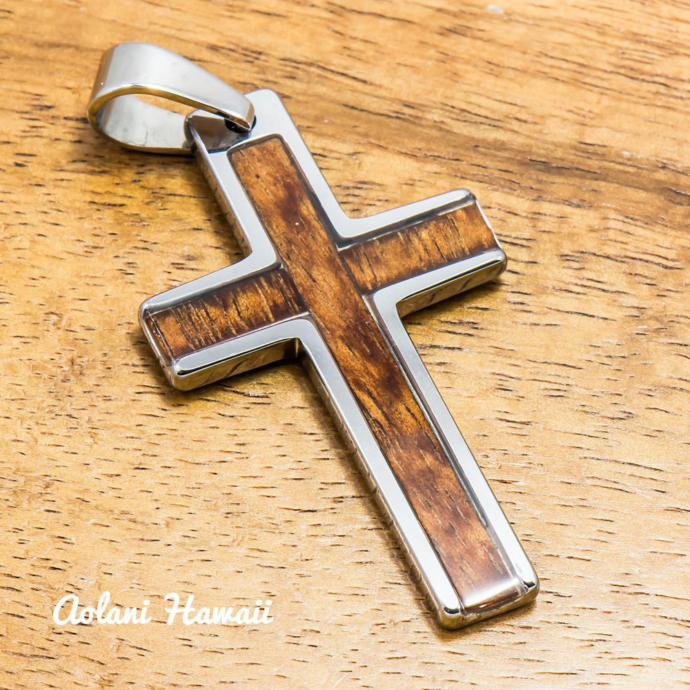Cross pendant with koa wood handmade with tungsten carbide 27mm x cross pendant with koa wood handmade with tungsten carbide 27mm x 47mm free stainless chain included aloadofball Image collections