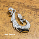 Fishhook Pendant Handmade with 925 Sterling Silver (20mm x 35mm FREE Stainless Chain Included) - Aolani Hawaii - 1