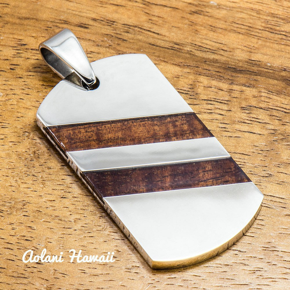 Handmade Koa Wood Pendant Handmade with Stainless Steel (24mm X 44 mm, FREE Stainless Chain Included) - Aolani Hawaii - 1
