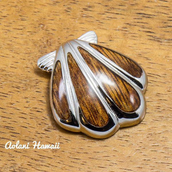 Hawaii Seashell Pendant Handmade with 925 Sterling Silver (22mm x 25mm FREE Stainless Chain Included) - Aolani Hawaii - 1