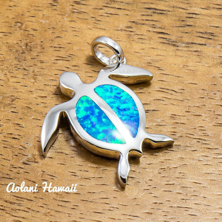 Hawaii Turtle Pendant Handmade with 925 Sterling Silver (21mm x 24mm FREE Stainless Chain Included)