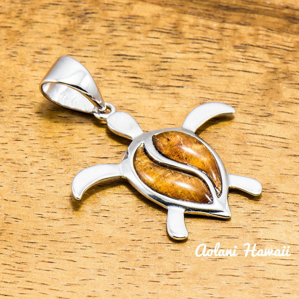 Hawaii Turtle Pendant Handmade with 925 Sterling Silver (27mm x 30mm FREE Stainless Chain Included) - Aolani Hawaii - 1